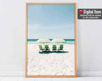 Beach Chairs Print, Beach Umbrellas Poster, Beach Print, Coastal Wall Art, Digital Summer Print, Beach Wall Art, Summer Decor, Ocean Print.