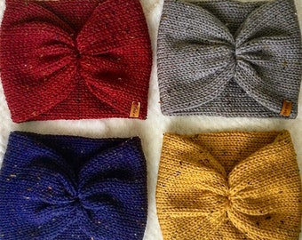Glam Earwarmer **NEW Colors**  - Knitted Double layer headband , twisted Earwarmer, head wrap, knit accessories