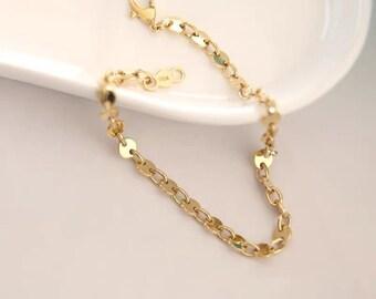 14k gold bracelet. 17cm 4.6g