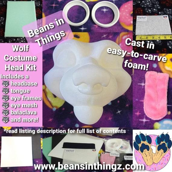 DIY Kit - Wolf Fursuit Cosplay Costume Head in Cast Foam for Wolf Husky Wild Fox Hyena Coyote Dog Cartoon Werewolf Lycan Furry Face Mask Hat