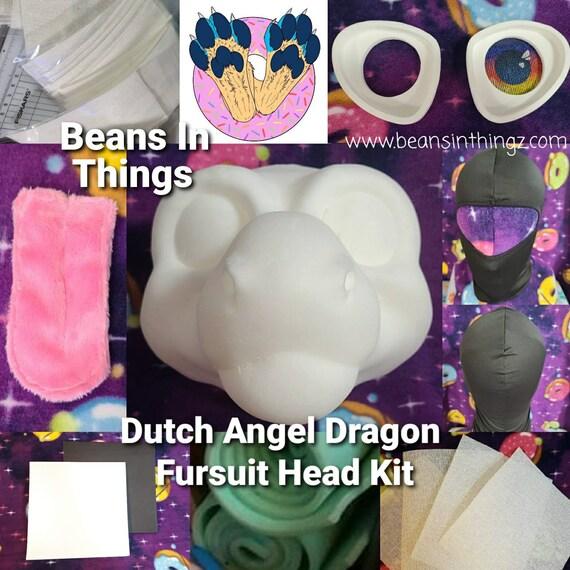 DIY Kit - Dragon Fursuit Cosplay Costume Head Base in Cast Foam for DIY Dutch Angel Dragon Toony Reptile Cartoon DIY Face Mask Hat Form