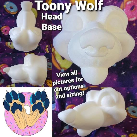 Wolf Fursuit Cosplay Costume Head Base in Foam for DIY Wolf Dog Fox Coyote Hyena or Canine Toony Cartoon Furry Face Mask Headdress Hat
