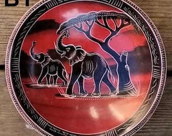 Vintage handcarved  wooden elephant tree bowl solid wood bowl housewaresafricananimalssafaritribalbasketfruit bowl Great price