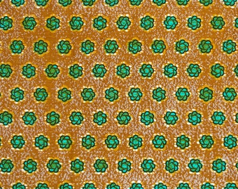 Vintage floral fabric for sew lover by half yard, Retro flower fabric home decor turquoise and brown by 1/2 yard, Small flower design fabric