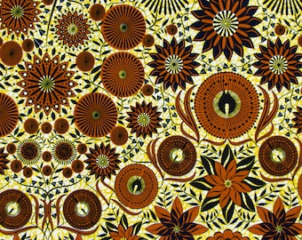 Guaranteed Authentic Vlisco Holland Wax Fabric by half yard, brown and greenish yellow Original African Fabric block print, african clothing