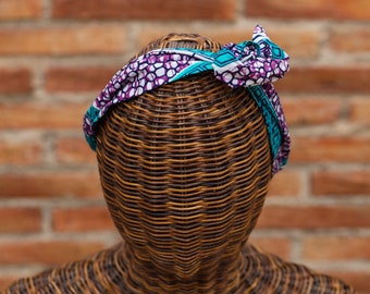 Blue turquoise Wire Headband african exclusive fabric for women, twist Headband adjustable female, vintage style hair accessory for girls