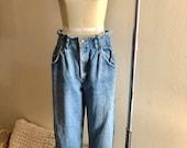 Vintage High Waisted Trousers, Sailor Pants, Jeans Vintage 80s Lee high waisted tapered mom jeans size 11 runs smaller $34.00 AT vintagedancer.com