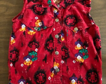 Vintage kids Rodeo Western Wear button down sleeveless shirt size 5