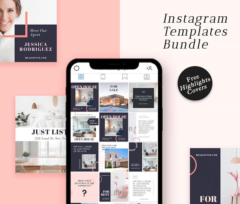 Real Estate Instagram Story Templates set  Realtor Canva Post image 0