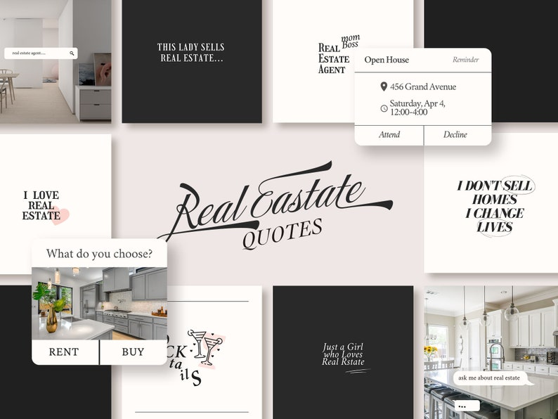 34 Real estate instagram post quotes templates bundle  girl image 0