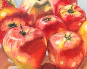 "Original oil painting ""Apple shine"", Kitchen Wall Decor, apple, small still life"