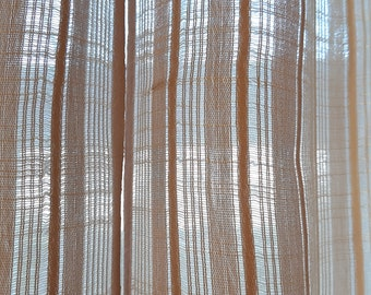 2 Pieces Sheer Translucent thin Synthetic decorative curtains, Brown, white , beige , pink striped curtains , day curtains panel (6)