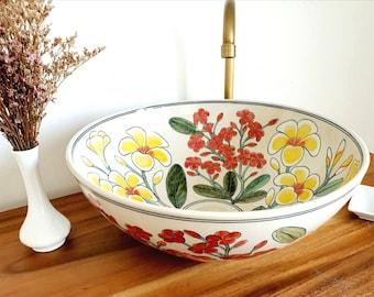 Ceramic sink / floral representation / bathroom sink / countertop basin / hand painted / hand made