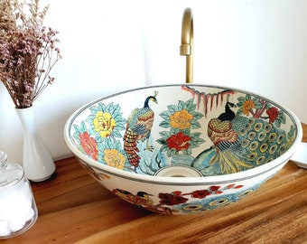 Ceramic sink / bathroom sink / countertop basin / hand painted / hand made