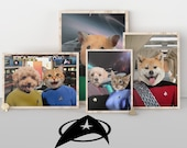 Custom Star Trek Pet Portrait The Next Generation Pet into a Spock, Captain Kirk Funny Pet Gift for Fathers Day, loss of pet, boyfriend gift