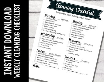 Printable Weekly Cleaning Checklist, Cleaning Schedule, Home Management, Planner Insert, Organization Print, Instant Download, Decluttering