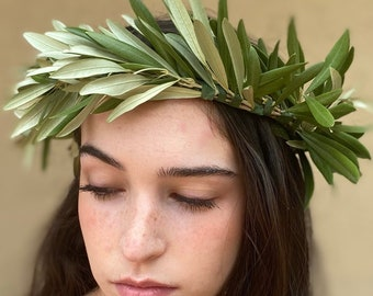 Olive stem crown - freshly cut and handmade - exquisite organic foliage tiara or wreath for wedding, quinceanera, graduation, shower