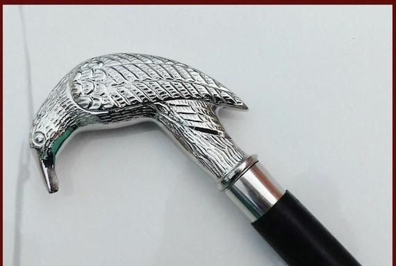 Antique Solid Brass Crow Head Handle Vintage Victorian Wooden Walking Stick Cane