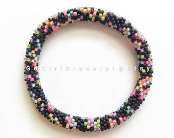 Popcorn/ Black & Neon- Nepal Style Custom-Made Personalized Beaded Crochet Bracelet Bangle