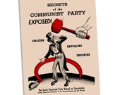 "Secrets of the Communist Party Exposed! 4x6"" Postcard Retro Red Scare Reproduction, Communist Leftist Flat Card, Small Gift"