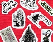 Retro Christmas Vinyl Kiss-Cut Sticker Set | 8 Victorian & Edwardian Holiday Decals,  Vintage Xmas, Sledding, Tree, Merry, Cats, Caroling