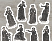 Victorian Mood Ladies #1 Sticker Set, 8 Vinyl Woman Emotions Despair Calm Scorn Horror Anger Fear Supplication Laughter