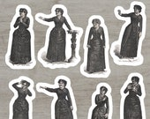 Victorian Mood Ladies #2 Sticker Set, 8 Vinyl Women Reactions Emotions | Love, Madness, Scorn, Dignity, Anger, Fear, Earnestness, Laughter