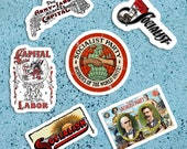 Socialist Sticker Variety Set  | Workers of the World Unite! 6 Vinyl Stickers | Retro Socialism Capital & Labor for Water Bottle Laptop Etc