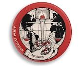 "Solidarity 2.25"" Pinback Button | Socialist Party Round Badge Retro Leftist Pin Anti-Capitalist Socialism Torch Cornucopia Justice Scales"