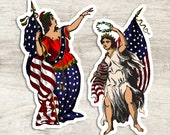 Patriotic Columbia Sticker Set, 2 Large Vinyl Woman, United States Flag & Laurel Stickers American Lady Liberty for Laptop Water Bottle etc