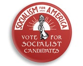 "Socialism for America 2.25"" Pinback Button | Vote for Socialist Candidates Round Badge Retro leftist Pin Anti-Capitalist Torch Sunrise"
