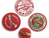 Set 4 Socialist Pinback Buttons, 2.25 & 1.25 Inch Socialist Round Badges Retro Leftist Pins Anti-Capitalist Pro Workers Socialism Comrades