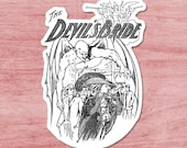 The Devil's Bride Sticker | Edwardian Satan | Retro Woman Menaced by Demon Satanic Vinyl Decal, Small Gift