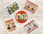 Socialist Campaign Posters Sticker Set  | 5 Vinyl Stickers | US Presidential Edwardian Socialism | Eugene V Debs for Water Bottle Laptop Etc