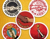 Socialist Sticker Variety Set #2 | Workingmen Unite! Comrades, Pro Strikers, Socialist Torch, Retro Socialism
