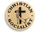 "Christian Socialist 2.25"" Pinback Button | Religious Leftist Round Badge Retro Socialism Pin Anti-Capitalist Torch Cross"