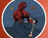 Lobster Revenge Sticker | Victorian Surreal Vegetarian Vinyl Decal, Vegan, Animal Rights, Small Gift