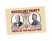 Socialist Party 1912 Campaign Poster 4x6 Postcard Leftist Edwardian Socialism | Eugene V Debs Emil Seidel Flat Card