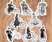 Bicycle Ladies Sticker Set, 8 Vinyl Victorian Women Riding Antique Bicycles Bike Cycling Feminist Feminism for Car Laptop Water Bottle Etc