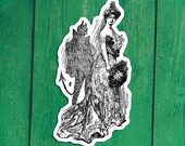 Shady Lady Sticker | Devil is in the Details | Retro Edwardian Woman with Demon Shadow Satan Vinyl Decal, Small Gift