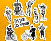 The Model New Woman Sticker Set, 9 Vinyl Victorian Feminist Women in Bloomers, Bicyles, Guns, Retro Feminism, Small Gift
