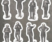 Victorian Mood Men #2 Vinyl Sticker Set, 8 Gentlemen Emotion Stickers: Love, Madness, Expectation, Dignity Weeping Fear Earnestness Laughter