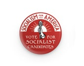 "Socialism for America 1.25"" Pinback Button | Vote for Socialist Candidates Round Badge Retro leftist Pin Anti-Capitalist Torch Sunrise"