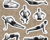 Old Fashioned Muscle Man #1 Sticker Set | 8 Vinyl Workout Stickers | Exercise, Gym, Health, Fitness Stretch for Car Laptop Water Bottle Etc