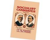 1916 Socialist Candidates Campaign Poster 4x6 Postcard Leftist Edwardian Socialism Allan Benson George Kirkpatrick Flat Card
