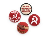 "Set 4 Commie Pinback Buttons, 1.25"" Communist Round Badges Retro Leftist Pins Anti-Capitalist Pro Workers Communism Comrades Hammer & Sickle"
