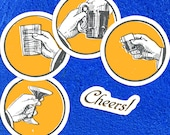 Cheers! Toasting Hands Vinyl Sticker Set  | 5 Retro Raised Glasses Drinking Celebration Stickers, Bartender, Beer, Champagne, Booze, Alcohol