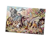 "Cave Dwellers Contend with Prehistoric Monsters 4x6"" Postcard 