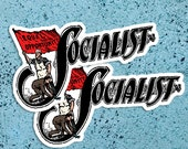 Set Two Socialist Large Vinyl Stickers | Edwardian Socialism | Retro Socialism, Equal Opportunity Flag for Laptop Water Bottle Etc