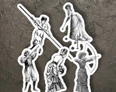 Ladies Sport Sticker Set, 5 Vinyl Victorian Women's Sports Stickers Archery Croquet Pole Vault Hunting Bowling Feminist for Water Bottle Etc